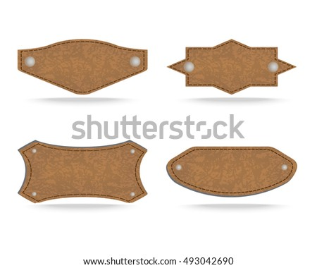 Set of 4 shapes of leather tag or leather sign labels on white background. Vector illustration