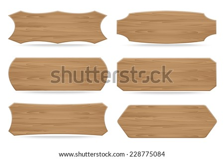 Set of 6 shapes wooden sign boards. Vector illustration - stock vector