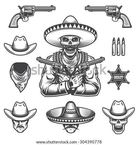 Set of sheriff and bandit elements and heads. Monochrome style - stock vector