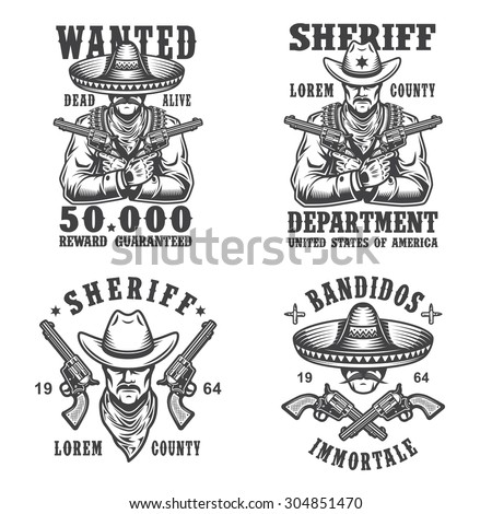 Set of sheriff and bandit emblems, labels, badges, logos and mascots. Monochrome style. - stock vector