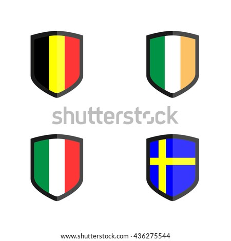 Set of Shield Badge with Nation Flag, Belgium, Ireland,Italy,Sweden - stock vector