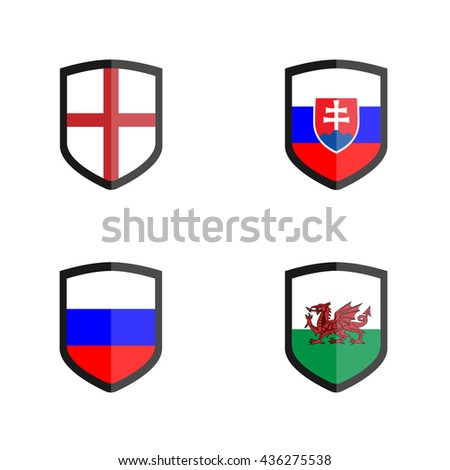 Set of shield badge with Nation Flag, England, Wales, Russia, Slovakia - stock vector