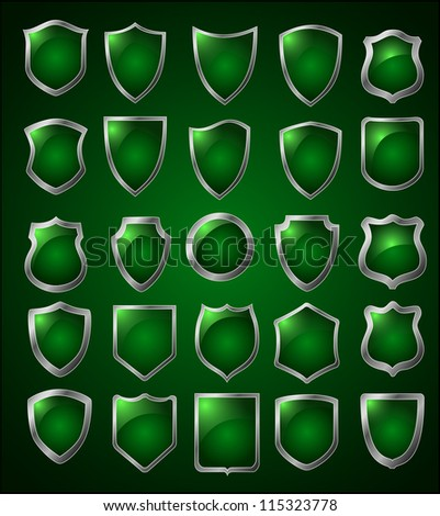 set of 25 shields - stock vector