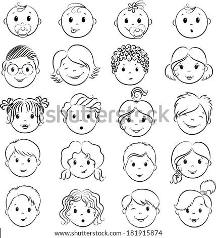 Set of shildren`s faces. Vector contour. - stock vector