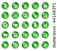 Set of shiny, buttons icons, green glass - stock vector