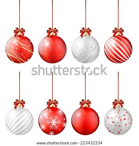 Set of shiny Christmas balls - isolated on white background. Vector illustration. - stock vector
