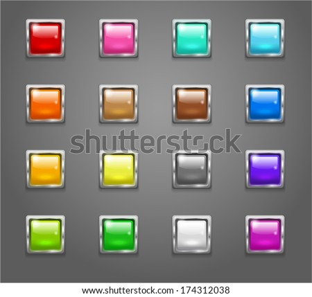 Set of shiny colored square buttons - stock vector