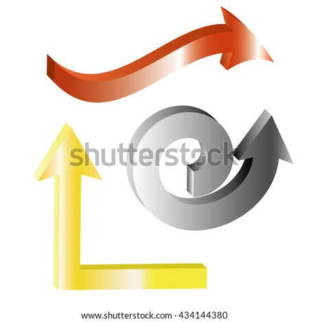 Set of shiny 3d arrows,spiral, up, zigzag, red arrow, grey arrow, yellow arrow on white background - stock vector