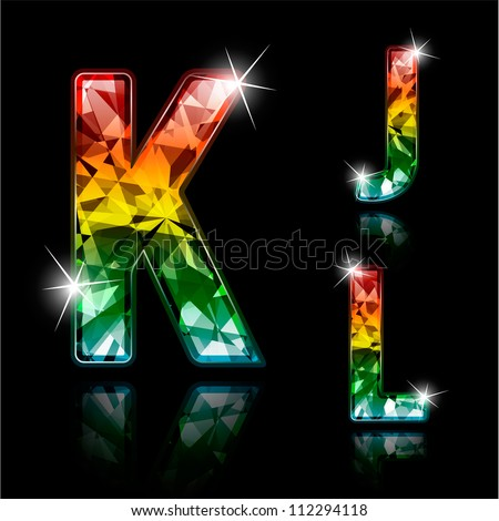 Set of shiny diamond spectrum colored characters - stock vector