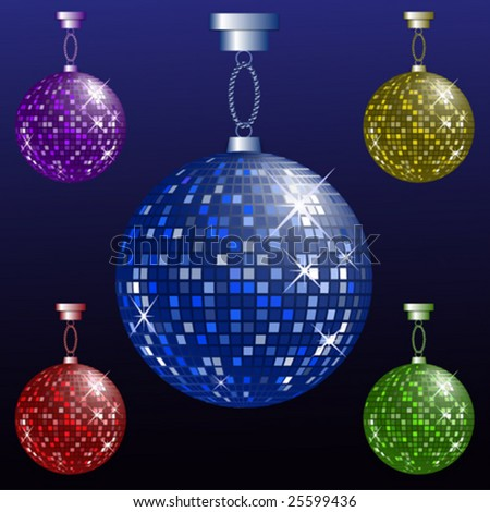 Set Of Shiny Disco Balls Vector Illustration - stock vector