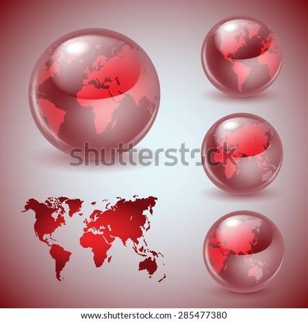 Set of shiny glass world globes - stock vector