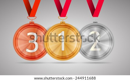 Set of shiny gold first place, silver second place and bronze third place circle medals with white number 1, 2 and 3 hanging on red ribbons. Isolated vector illustration on gray background.
