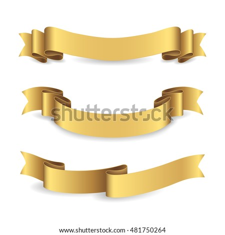 Set of shiny golden ribbons. Vector realistic elements for your design greeting or gift card and invitation for holidays. Isolated from the background.