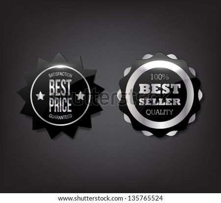Set of shiny metallic badges / banners with silver frames and text for business design or websites - stock vector