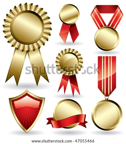 Set of shiny red and gold award ribbons and medals - stock vector