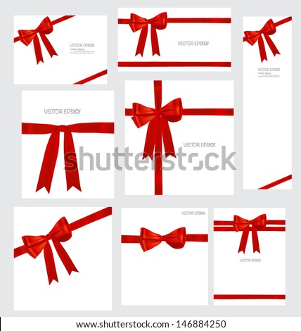Set of Shiny red ribbons and beautiful gifts. Vector illustration. - stock vector
