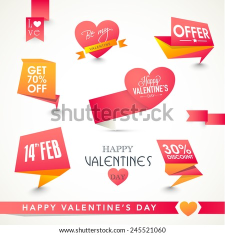 Set of shiny tags or labels design for Happy Valentines Day celebration. - stock vector