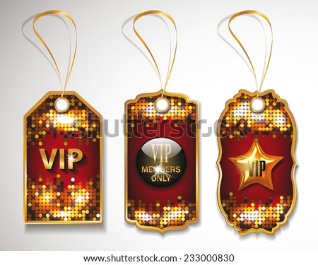 Set of shiny VIP gold red tags on the disco background - stock vector