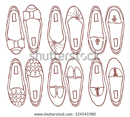 set of shoes doodle - stock vector