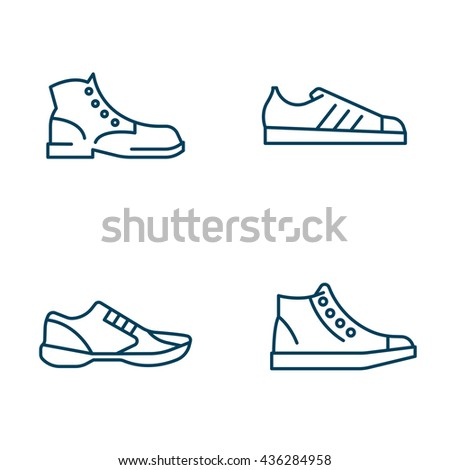 Set of shoes line icons. Boots and sneakers.  - stock vector