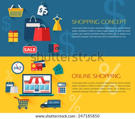 Set of shopping and online shopping concept banners with place for text. Collection of flat education icons for your design. Vector illustration. - stock vector