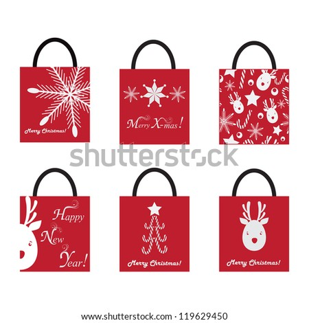 set of Shopping Bags for Christmas - stock vector