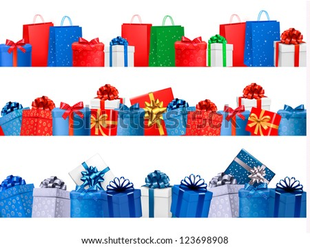 Set of shopping banners with gift colorful boxes with bow and ribbon. Vector illustration. - stock vector