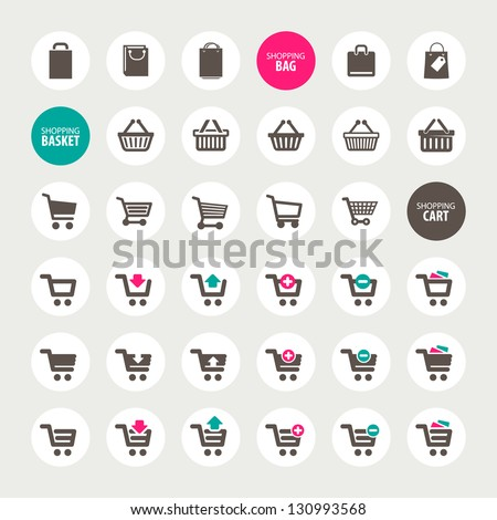 Set of shopping cart, basket and bag icons - stock vector