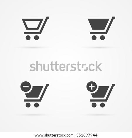 Set of shopping cart icons - stock vector