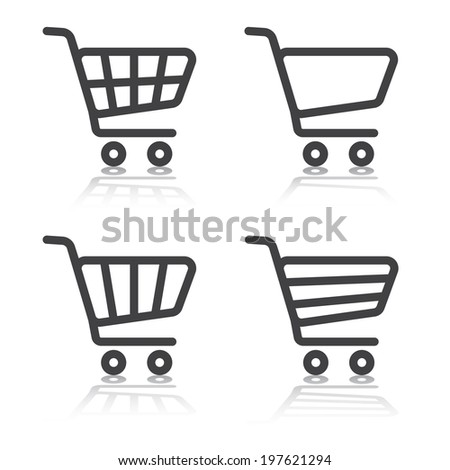 Set of shopping cart  icons with shadows on white background. Vector illustration - stock vector