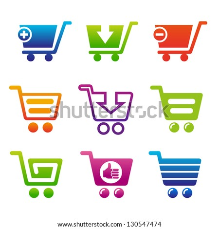 Set of shopping carts. Set of icons for webshop. - stock vector