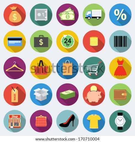 Set of shopping icons in flat design with long shadows Part 1 - stock vector