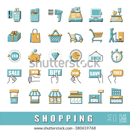 Set of shopping icons. Vector illustration. Premium quality outline symbol collection. Flat line icons set.