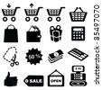Set of shopping symbols icons-Silhouettes - stock photo