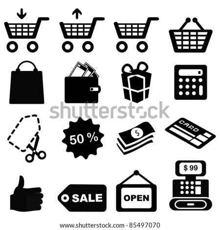 Set of shopping symbols icons-Silhouettes - stock vector