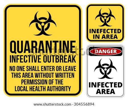Set of sign biohazard quarantine area. Vector illustration   - stock vector