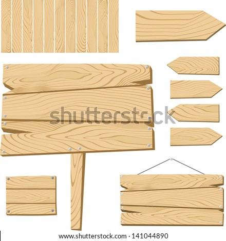 set of sign board and wooden objects isolated on white background, useful for many applications, in vector format very easy to edit, individual objects - stock vector
