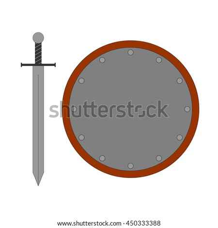Set of sign round shield and sword silver. Combat color icon isolated on white background. Flat mark. Symbol of a steel elements. Logo for military and security. Stock vector illustration - stock vector