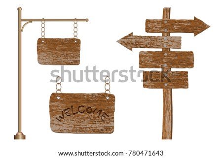 Set of signage and signs from an old tree on poles in vintage style isolated on white background