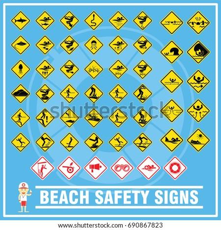Set Signs Symbols Beach Safety Warning Stock Vector Hd Royalty Free