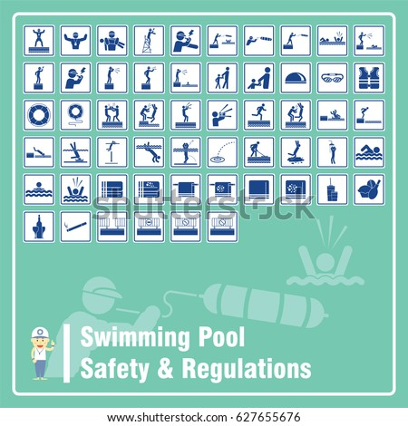 Set Signs Symbols Swimming Pool Safety Stock Vector 627655676 Shutterstock