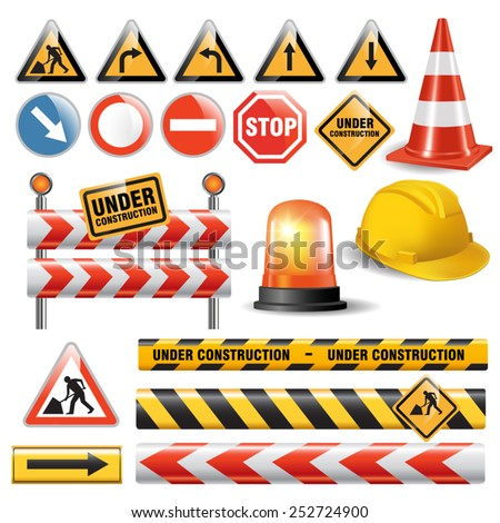 Set of signs and symbols under construction. Vector illustration - stock vector