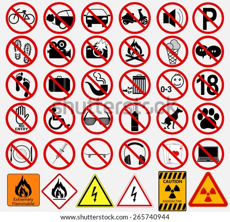"Set of  Signs for Different Prohibited Activities. ""No"" signs. Vector illustration - stock vector"