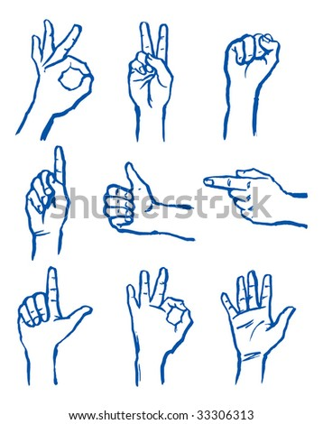 Set of signs hand - stock vector