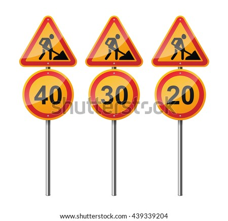 Set of 3 signs, isolated on white background. Road works. Speed limit. EPS10 vector illustration. - stock vector