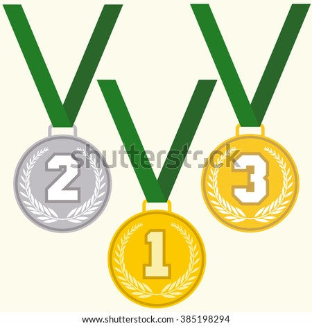 Set of signs medal, first second and third place, golden silver and bronze medals with laurels wreath and green ribbon, flat design medal icon, vector - stock vector