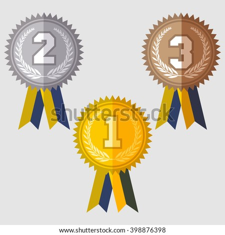 Set of signs medal, first second and third place, golden silver and bronze medals with laurels wreath and green ribbon, flat design icons, vector