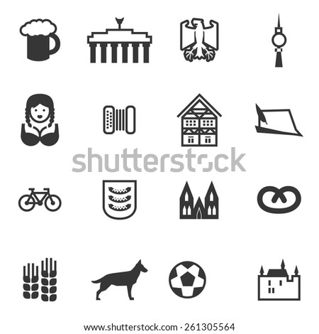 Set of signs of Germany. Set include beer, eagle, Brandenburg gate, berlin TV tower, woman, accordion, harmonica, German house, German hat, bicycle, football, castle, German Shepherd, Pretzel.