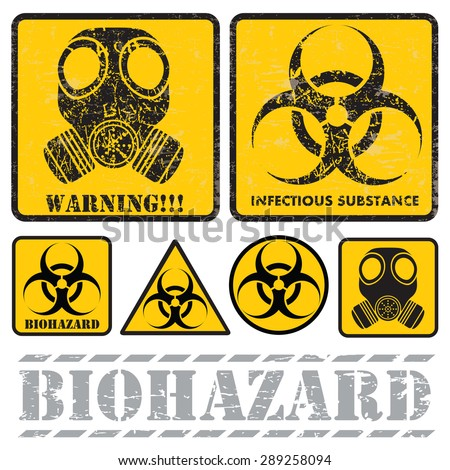 set of signs warning of biological hazards - stock vector