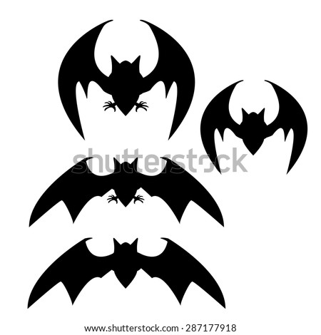 Set of silhouette bat with leg and no leg - stock vector